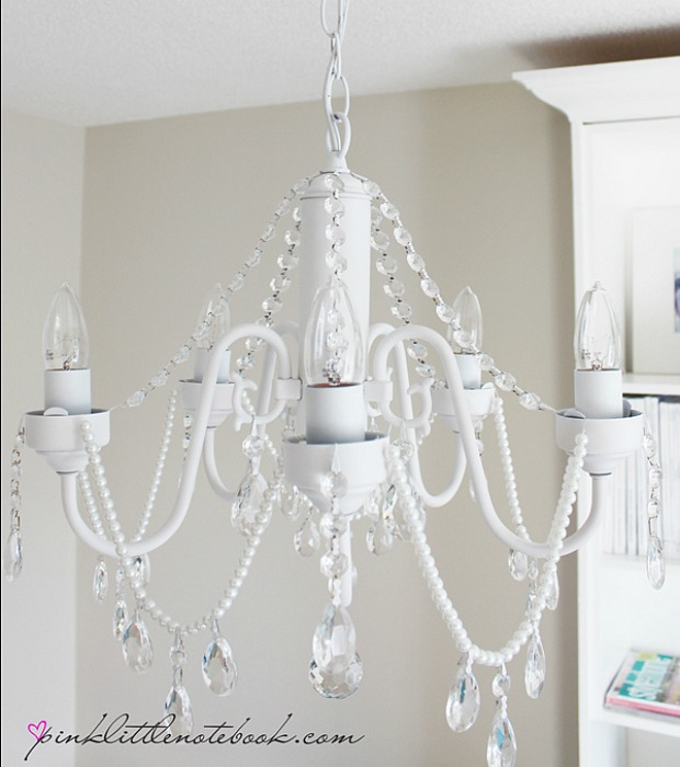 Princess chandelier diy easy home decor upgrade pink little notebook mozeypictures Gallery