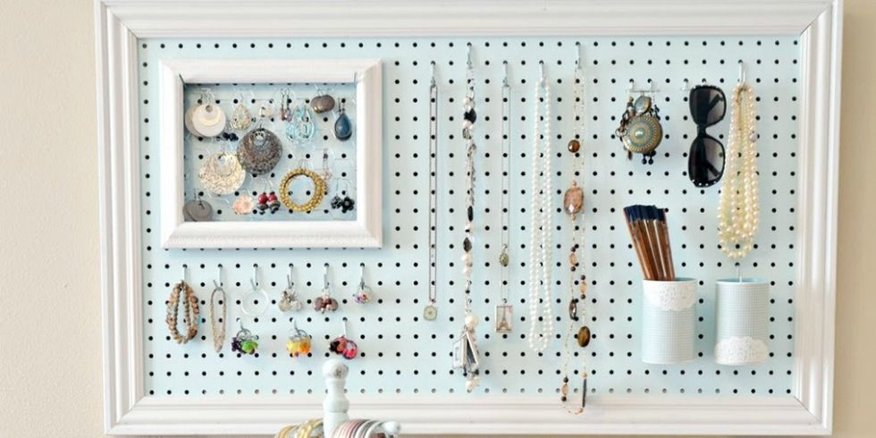 pegboard organizing ideas creative ways to use pegboards. Black Bedroom Furniture Sets. Home Design Ideas