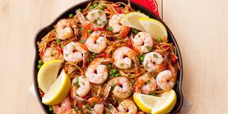 Spanish Noodles With Shrimp And Peas