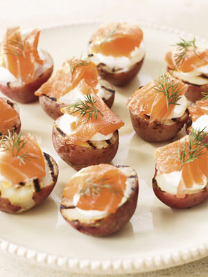 Potato Halves with Smoked Salmon and Dill