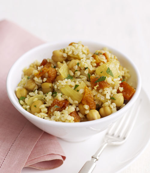 This meatless dish turns grain and beans into a hearty entrée. The amino acids in the bulgur and garbanzos are complementary, and when they come together they form a complete protein just like you'd get from dining on chicken or meat for ...