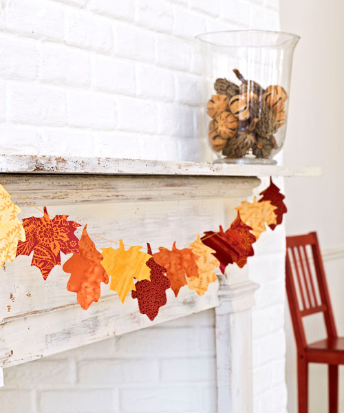 Craft project leaf garland fall decorations for Leaf crafts for adults