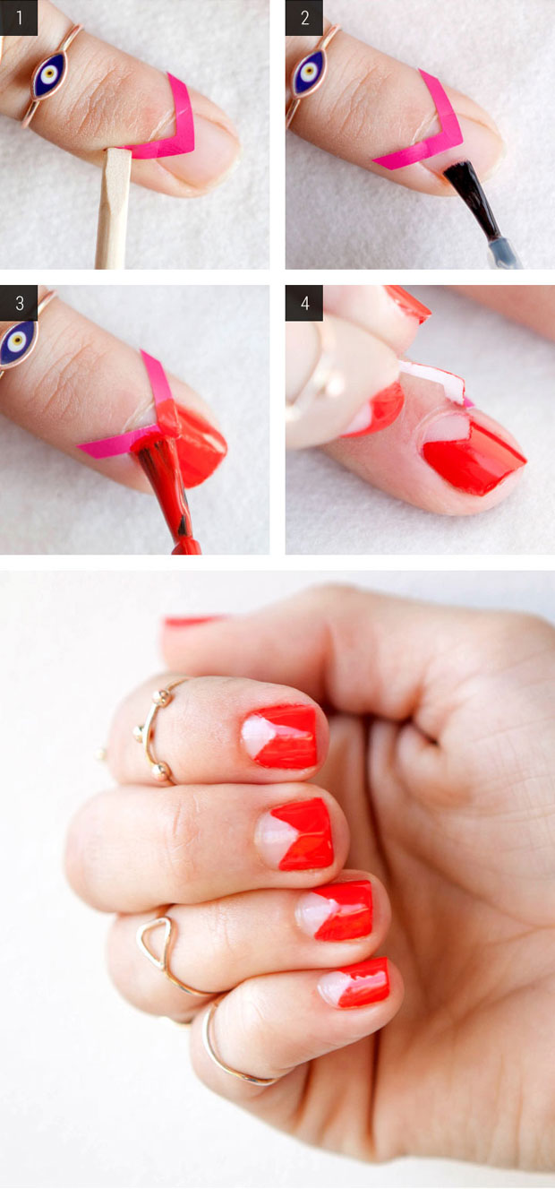 How to paint a negative space manicure with tape easy nail art ideas 4 steps to a modern negative space mani prinsesfo Image collections