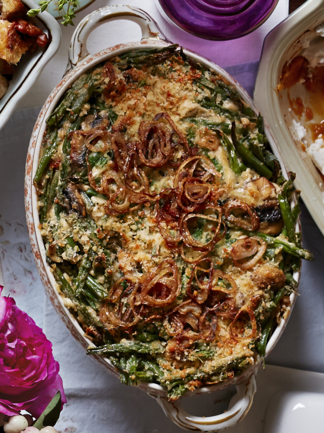 green bean casserole with fried shallots