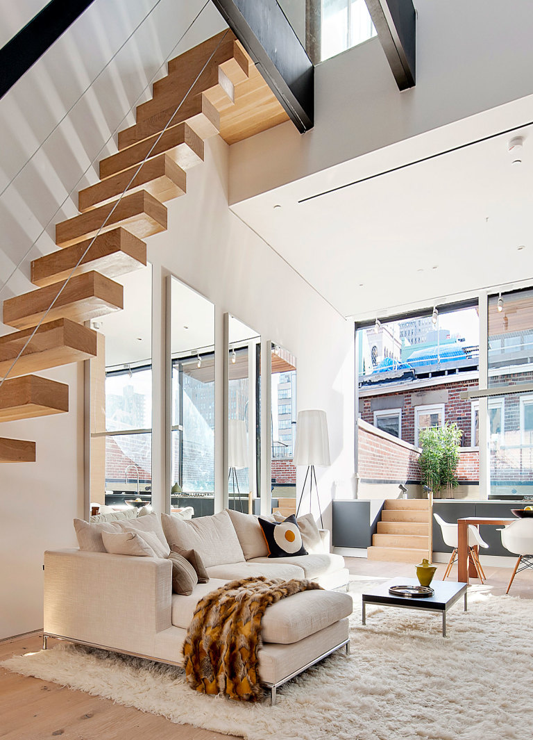 neutral apartment with funky stairs - Bedroom Look Ideas