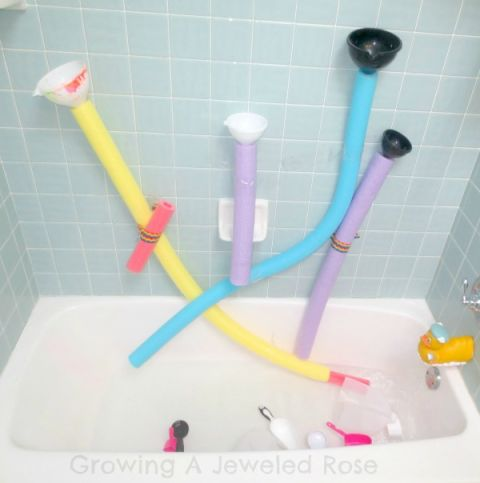 All you need to create a bathtub wall that allows your children to use their, err, noodles while washing up are a few pool toys, funnels, and tape — just don't be surprised when your kids beg you to stay in the bath much longer. See more at Bath Activities for Kids »