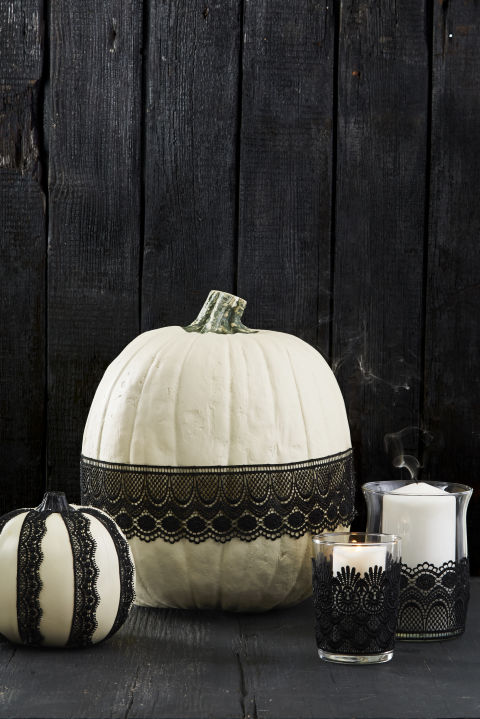Choose ribbon or lace, then attach to pumpkins, candle holders or even wine glasses with a few swipes of Mod Podge. Let dry, then display. Done! What you'll need: black lace, ($7, amazon.com), decoupage glue ($7, amazon.com)