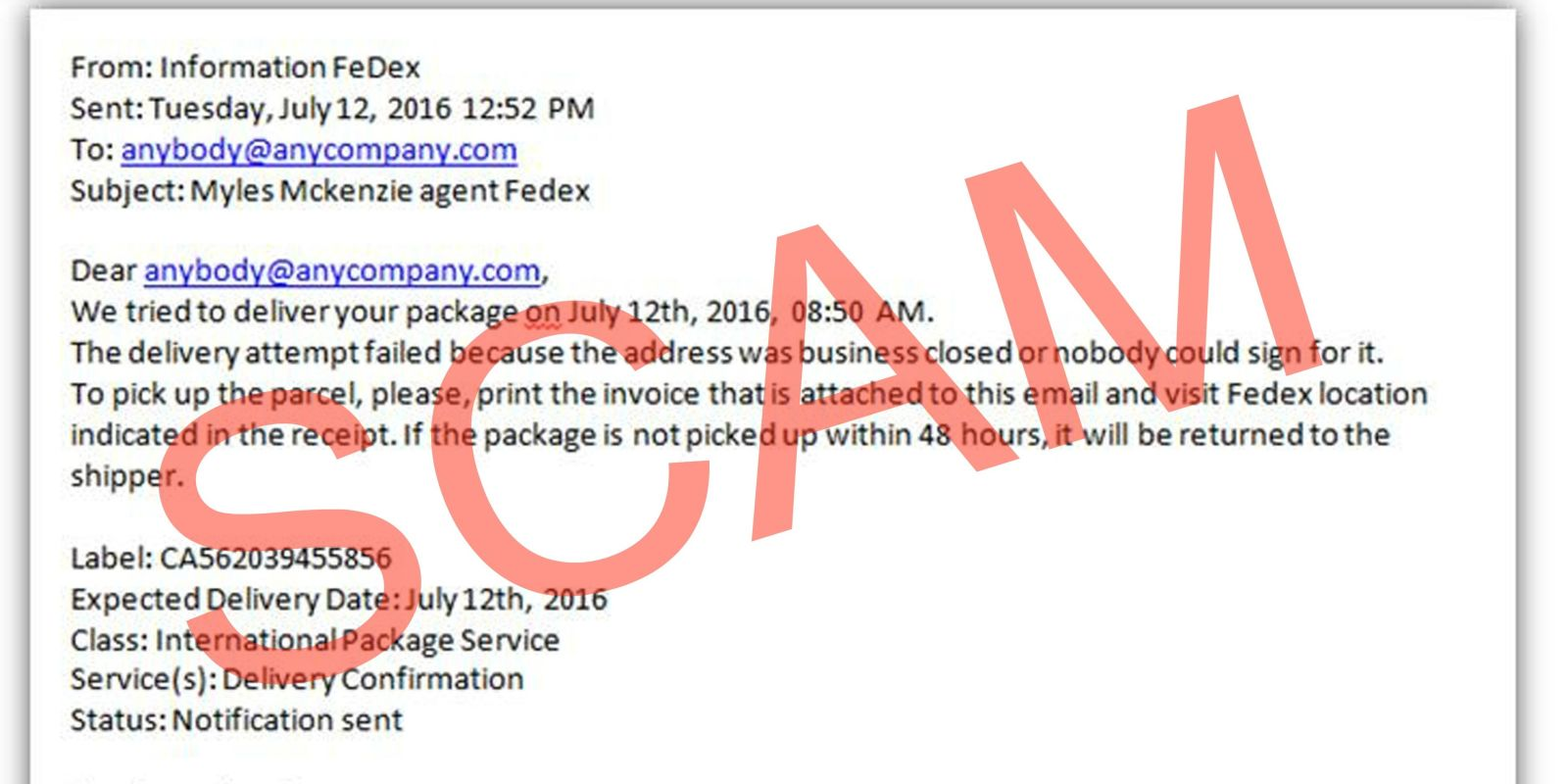 It is a picture of Dynamite Email Fedex Label to Customer